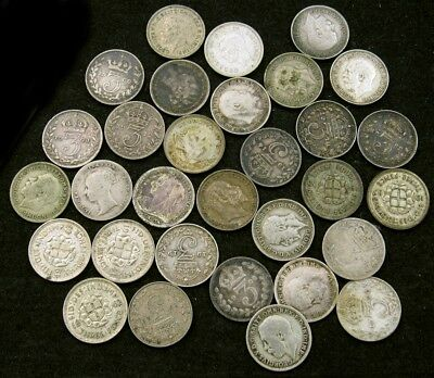 1961-1943 Great Britain Silver Threepence Collection - 31 Coins, Different Dates