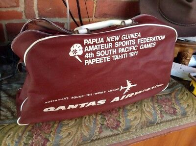 Qantas Empire Airways - Vintage 1971 Travel Bag - Made In Australia
