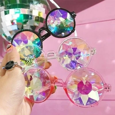 Rave Kaleidoscope Round Glasses Prism Diffraction Crystal Lens Sunglasses Gift