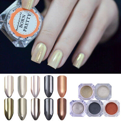 5 Boxes Mirror Rose Gold Nail Art Glitter Powder Champagne Silver Gold Pigment