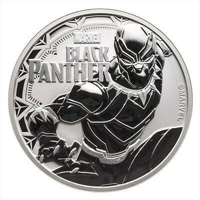 Tuvalu 1 Dollar, 2018 (Black Panther  -Marvel) 1oz Ag. 999 SILVER Coin, BU, UNC