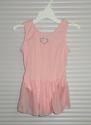 JACQUES MORET PINK SKIRTED LEOTARD Crystal Heart Size XS 4-5