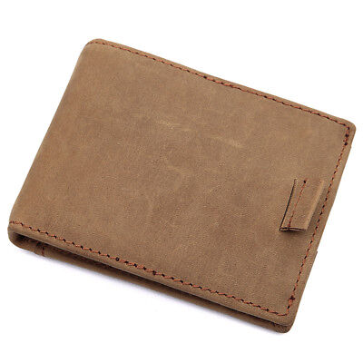 Mens RFID Blocking Bifold Slim Crazy Horse Leather Thin Minimalist Design Wallet