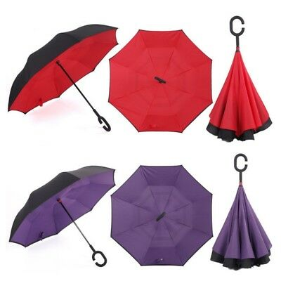 C-Handle Windproof Double Layer Upside Down Inside Inverted Car Umbrella Fashion