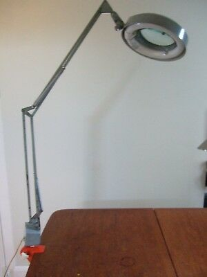 Vintage 1960s LUXO Magnifyer Industrial Light Lamp from BBC working Rare