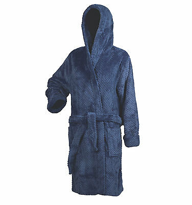 Slenderella Womens Waffle Fleece Hooded Dressing Gown Wrap Bathrobe 16-18 Blue