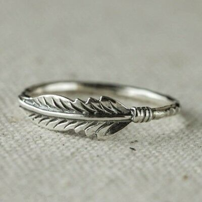 Antique Solid Silver Feather Ring Stacking Rings Party Wedding Jewelry