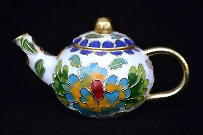 Collectible Chinese Old cloisonne handwork flower decorate little noble Teapot