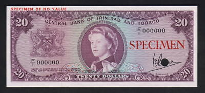 Trinidad & Tobago P-29CS. (1964) 20 Dollars.. SPECIMEN - Unc.. punch cancelled