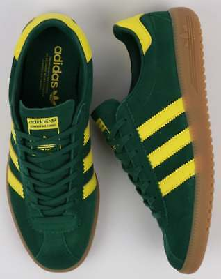 Adidas Bermuda Trainers in Green, Yellow & Gum - retro suede 3 stripe classic