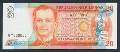 Philippines: 1992 20 Piso Serial Number WY 000010. Pick 170f, UNC