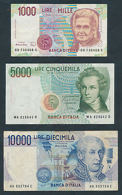 Italy: 1984-1990 1000, 5000 & 10,000 Lire. Set of 3 now replaced by Euro