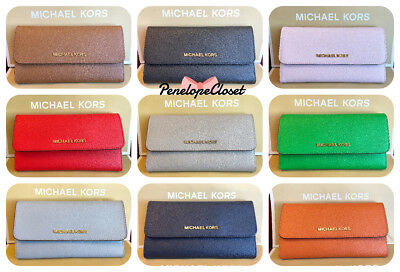 Nwt Michael Kors Jet Set Travel Saffiano Leather Large Trifold Wallet In Various