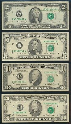 """USA: 1976-2003 $1 to $20 TYPE SET of 5 incl 1976 $2 """"BICENTENNIAL"""" COMMEMORATIVE"""