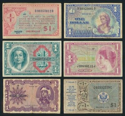 USA: MILITARY PAYMENT CERTIFICATES 1947-60 Nice Colln 6 DIFFERENT $1. Cat F $59