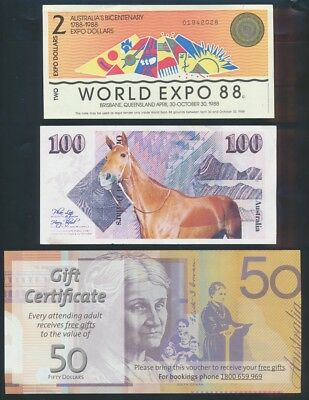 "Australia: 1988-2014 COLLECTION OF 7 DIFF ""FUNNY MONEY"" incl Phar Lap & Expo 88"