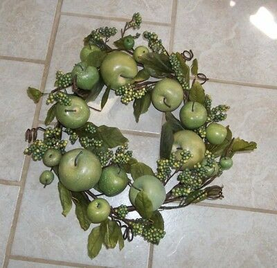 """Home Interiors GREEN APPLE WREATH / SWAG,  17"""", New"""