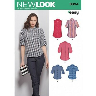 New Look Misses Button Front Tops Shirts Blouses Sewing Pattern