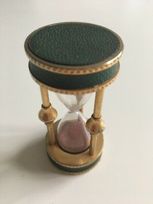 Vintage Glass Egg Timer Brass & Glass With Leather Trim.