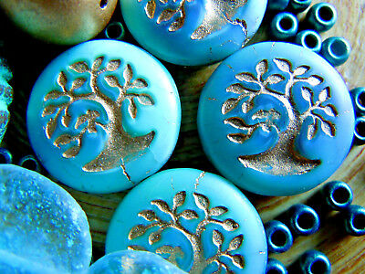 5Stk. grosse Light Türkis Bonsai Bäumchen Button-Perlen m.Goldprägung -18mm-