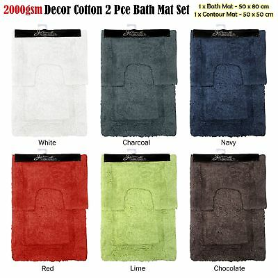 Quality 2000gsm 2 Pce Décor Cotton Bath Mat & Contour Pedestal Set