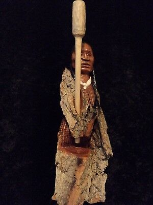 "Wood Carving Tree Spirit Native American Indian ""Kanuchi"" Cherokee Signed GRW"
