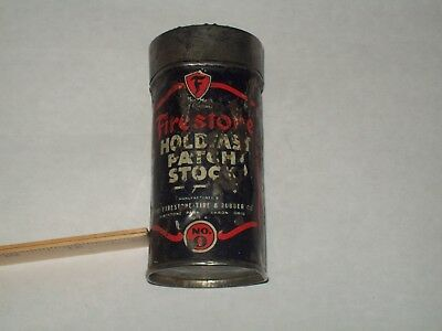 Vintage-Rubber-Tire-Repair-Kit-FIRESTONE-Holdfast Patch Stock-Tin-Can-VERY POOR