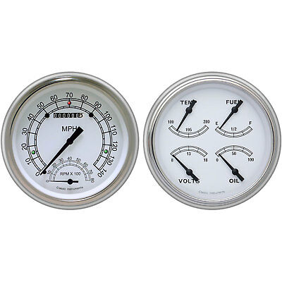 Classic Instruments CH51CW62 Classic White Series Gauge Package 1951-52 Chevy Ca
