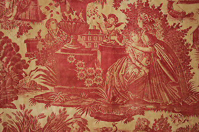 Antique French 18th century red toile de Nantes fabric 1785 valance bed curtain