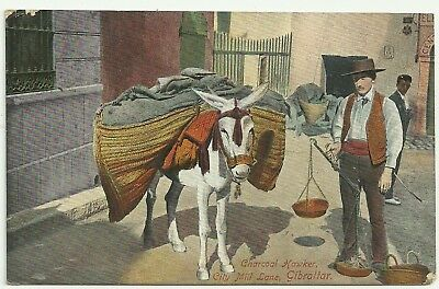 Gibraltar  postcard Charcoal Hawker City Mill Lane
