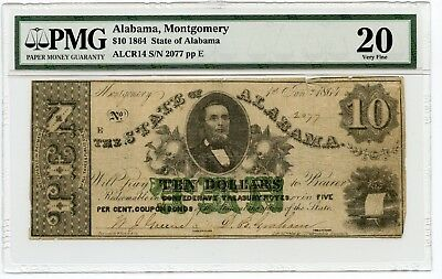 1864 $10 Alabama, Montgomery Obsolete  Currency Note VF 20 PMG