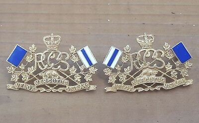 Officers Royal Canadian Corps Of Signals Collar Badges RCCS