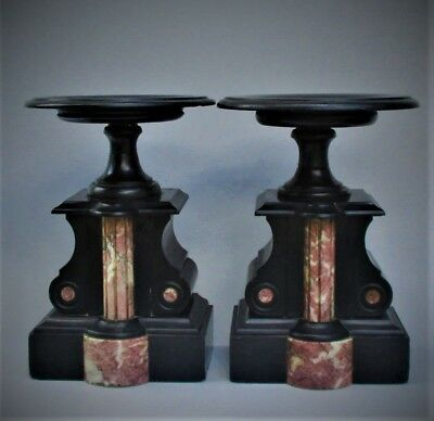 Pair of  Antique French 19th Century Marble and Slate Garnitures Compotes