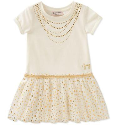 Juicy Couture Big Girls Vanilla & Gold Dress Size 7 8/10 12 $75