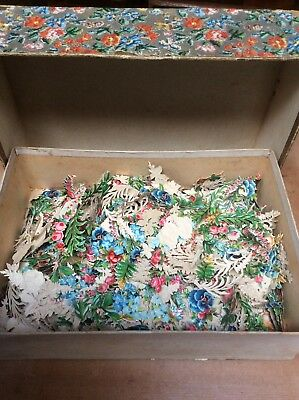 Large Lot of Original Die-Cut Embossed Victorian Floral Scraps for Scrapbooking