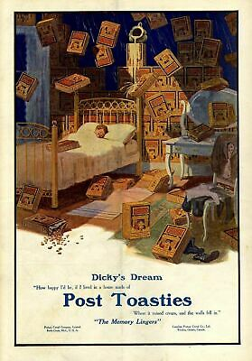 Post Toasties Boy Sleeping In Bed Dreams Of House Made Of Post Toasties Memory