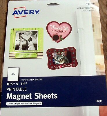 Avery Magnet Sheets, 8.5 x 11 Inches, White (03270) 3 Sheets Per Pack
