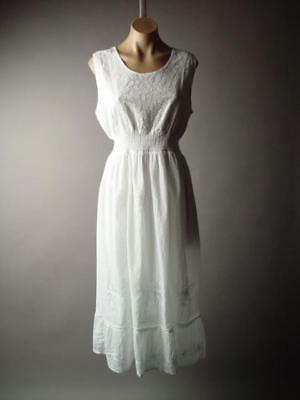 Plus White Bohemian Pagan Beach Summer Vtg-y Gypsy Wedding Peasant 274 mv Dress