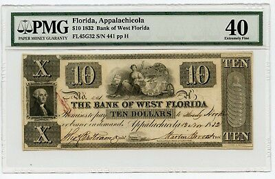 1832 $10 Florida, Appalachicola Obsolete Currency Note Extremely Fine 40 PMG