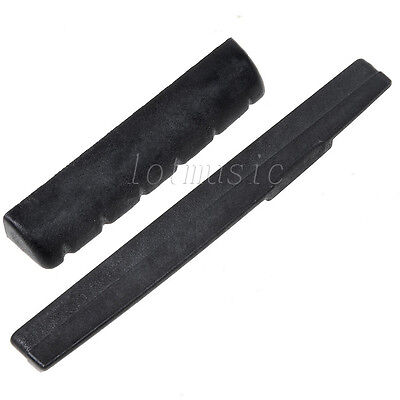 2Pcs Acoustic Guitar Nuts Slotted Guitar Strings Bridge Saddle Black