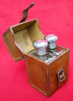 Fine Antique Leather Cased Double Crystal & Silver Flask Set ~ Custom Made 1913