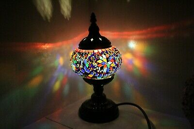 Turkish Lamp Hand Made Moroccan Table Mosaic Colourful Glass Multi Shade