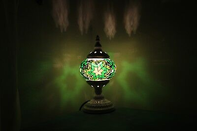 Turkish Lamp Hand Made Moroccan Table Mosaic Colourful Glass Green Shade