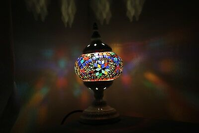 Turkish Lamp Hand Made Moroccan Table Mosaic Colourful Glass Multi