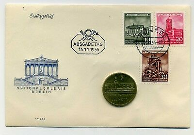 Original DDR Numisbrief/Erstagsbrief mit 5 Mark 1984 Rathaus Nationalgalerie RAR