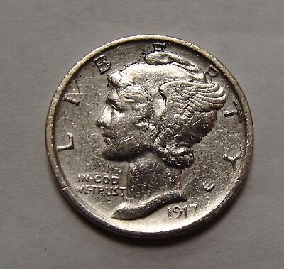 1917 S Silver Mercury Dime AU Details (cleaned) Better Date