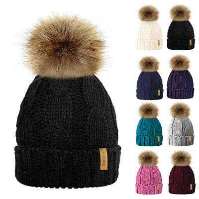 Women Kids Soft Cable Knit Fleece Lined Beanie Bobble Hat Detachable Pom Pom Aw