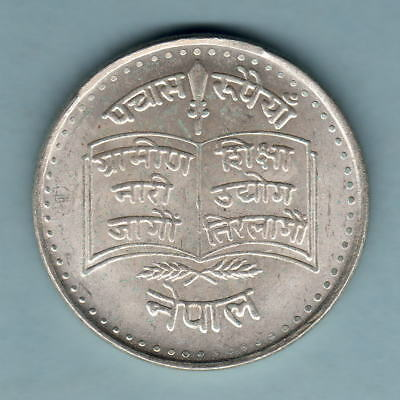 Nepal. VS-2036 50 Rupees.. Silver FAO Issue.. KM-842..  BU