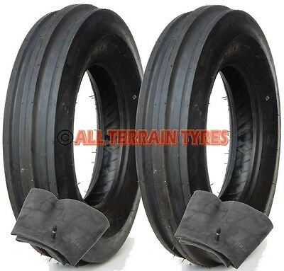 PAIR 4.00-12 Tyres & Inner Tubes 3 Rib Classic Vintage Tractor Front  400x12