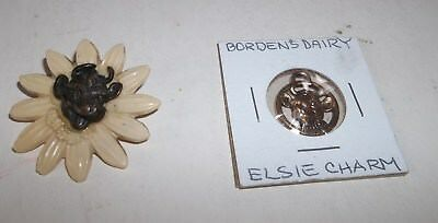 2 Vtg Borden Dairy Premiums - Elsie the Cow Metal Charm & Pin